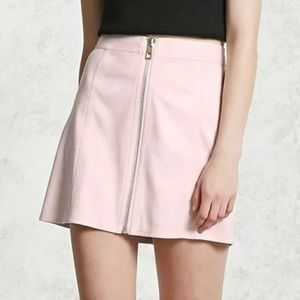 Forever 21 Faux Suede Front-Zip Mini Skirt